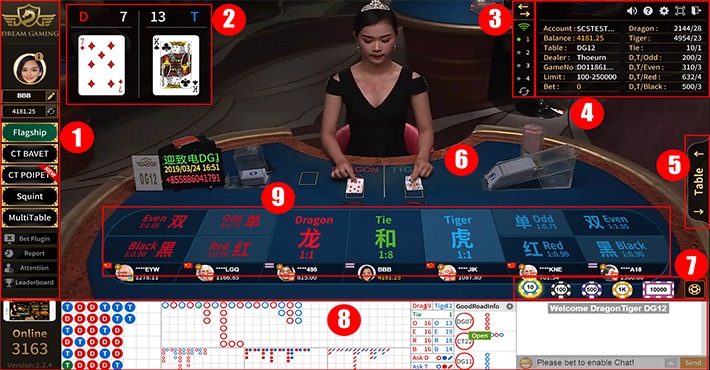 ปุ่มควบคุมเกมส์ไพ่เสือมังกร dg casino
