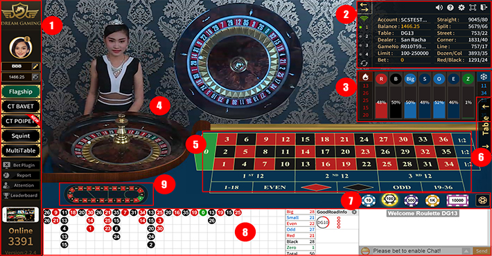 ปุ่มควบคุมเกมส์รูเล็ต dg casino